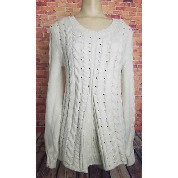 e819922e27 CAbi Sweaters - Cabi 3157 Cable Knit Lace Up Sweater Ivory Size S